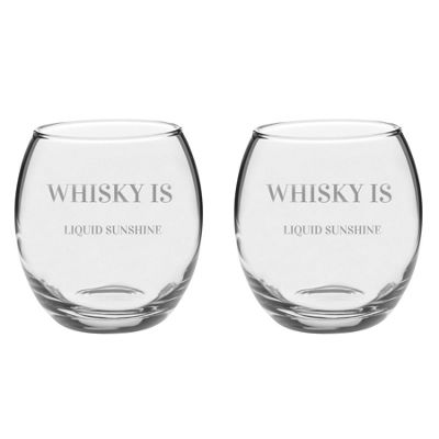 Argon Tableware Engraved Glass Whiskey Tumblers - Liquid Sunshine - 405ml - Pack of 2