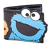 Sesame Street Cookie Monster Big Cutout Bi-fold Wallet, One Size, Black/blue (mw161263ses)