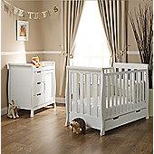 Obaby Stamford Mini Cot Bed 2 Piece + Pocket Sprung Mattress Nursery Room Set - White