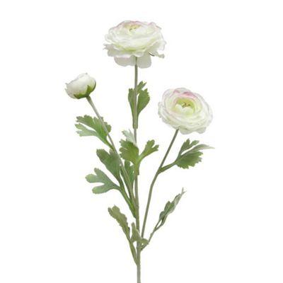 Bahne Faux Ranunculus Single Stem Flower in White 82cm Long