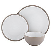 Two Tone Taupe Stoneware 12 Piece Dinner Set