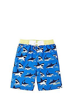 Dudeskin Shark Print Board Shorts - Blue