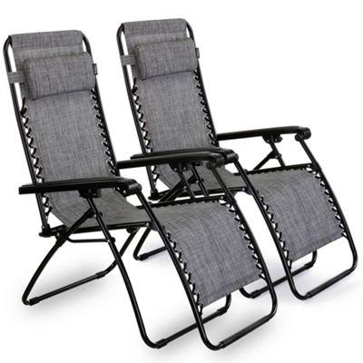 VonHaus Set of 2 Textoline Zero Gravity Chairs