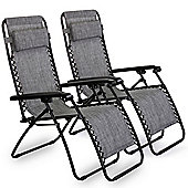 VonHaus Set of 2 Textoline Zero Gravity Chairs