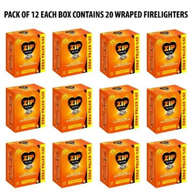 240 Pcs Zip Fast & Clean Wrapped Firelighters No mess, no smell (Pack of 12)