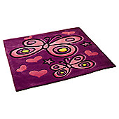 Butterfly and Love Hearts, Girls Rug 90 x 90 cm