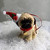 Fur Pug Dog Christmas Decoration