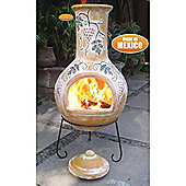 Extra-Large Grapes Yellow Chimenea With Lid & Stand