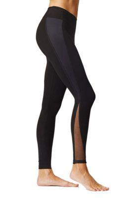 V Mesh Bottom Gym Leggings Black 3X