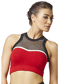 Cairo High Neck CoolMesh Gym Bra Red - Red & Black