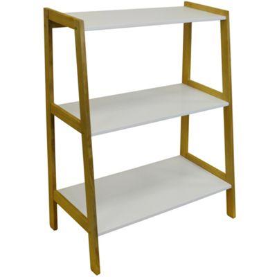 Lean - Slimline Ladder 3 Tier Wide Freestanding Storage Shelves - White