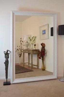 Bevelled Elegant Hand Made Large White Ornate Mirror 6Ft10 X 4Ft10 208 X 147Cm