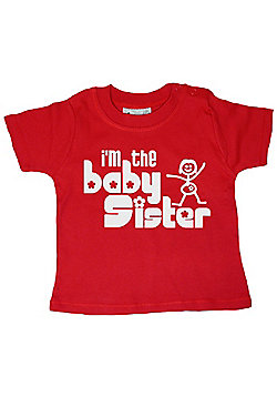 Dirty Fingers I'm the Baby Sister Baby T-shirt - Red