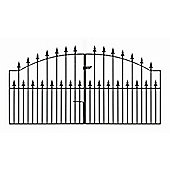 Wrought Iron Style Spear Topped Arched Double Driveway Gate, 305x125cm