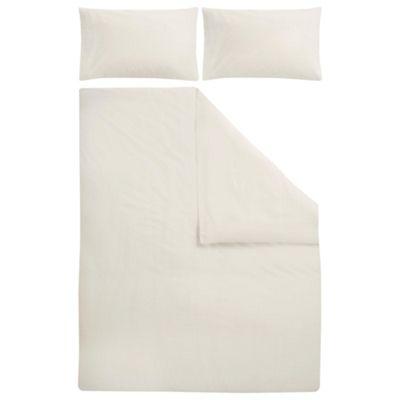 Tesco Poly/Cotton Plain Dye Bedset Cream King