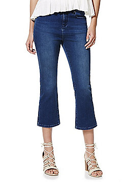 F&F Authentic Mid Rise Cropped Flared Jeans - Indigo wash