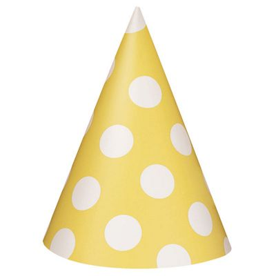 Yellow Polka Dot Party Hats