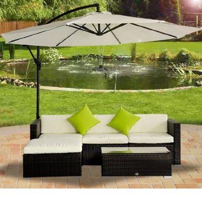 Outsunny Rattan Garden Furniture Corner Sofa Mixed Brown