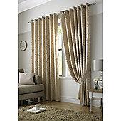 Tivoli Jacquard Leaf Eyelet Lined Curtains - Latte
