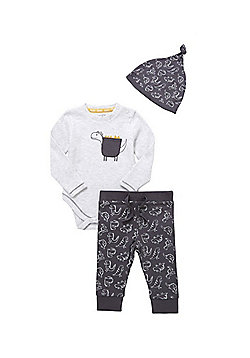 F&F Dinosaur 3 Piece Baby Set - Grey