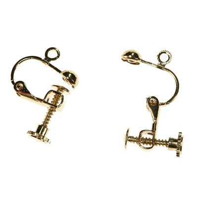 Screw On Hinged Earring With Loop - Gold - 2 Pack