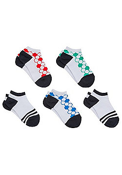 F&F 5 Pair Pack of Football Trainer Socks - Multi