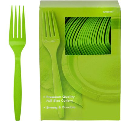 Lime Green Plastic forks - 100 Pack