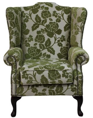 Chesterfield Saxon Mallory High Back Wing Chair Coronation Olive Fabric