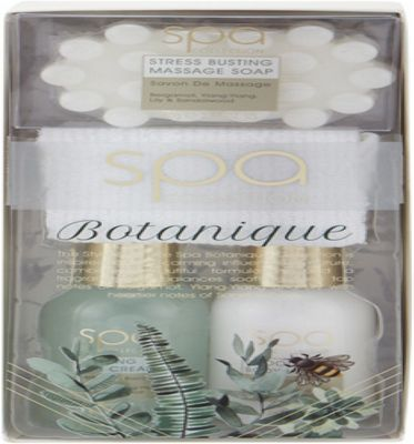 Style & Grace Spa Botanique Bath & Body Treats Gift Set 100ml Bath Cream + 100ml Body Lotion + 80g Massage Soap + Towel