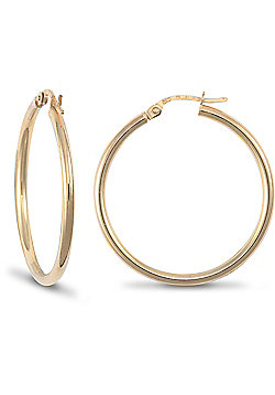Jewelco London 9ct Yellow Gold Ultra Light Plain Hoops