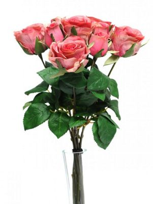 Artificial - Rose Bunch x 9 - Pink