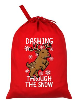 Dashing Through The Snow Santa Sack 46x60cm, Red