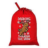 Dashing Through The Snow Santa Sack 46x60cm, Red