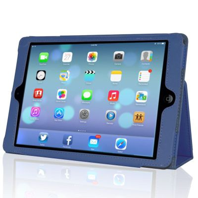 iPad Air Blue Leather Case Cover With Stand
