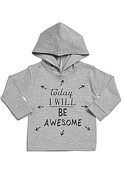 Today I Will Be Awesome Cotton Baby Hoodie - Baby Gift - Grey