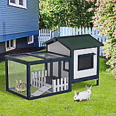 Pawhut Wooden Rabbit Hutch Small Pet House Guinea Pig Wood Cage Pen w/ Run Fence Ramp