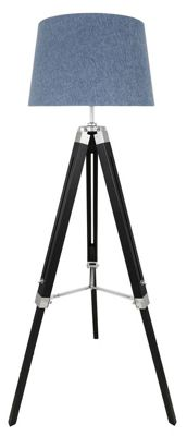 Black Hollywood Tripod Floor Lamp With Blue Shade