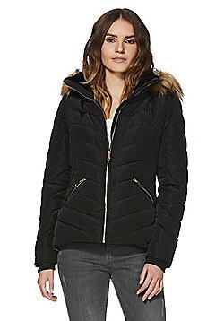 F&F Shower Resistant Hooded Puffer Jacket - Black