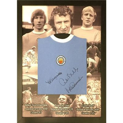 Framed Colin Bell, Francis Lee & Mike Summerbee signed Manchester City Shirt