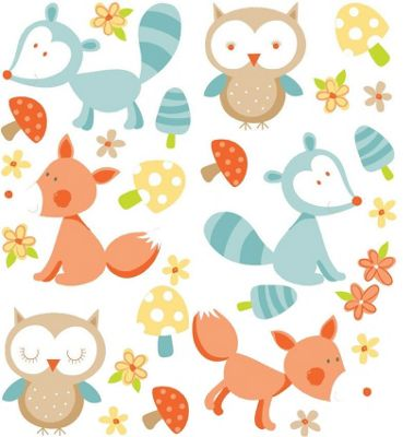 Forest Friends, 29 Stickers - Orange