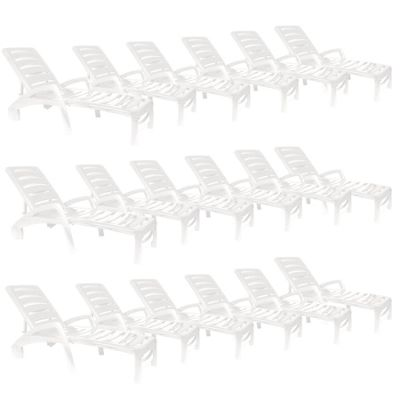 Resol Ibiza Plastic Home Garden Adjustable Reclining Sun Lounger - White - Pack of 18