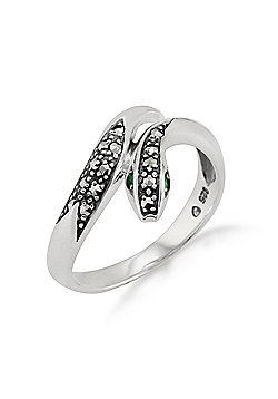Gemondo Sterling Silver Art Nouveau 0.04ct Emerald & Marcasite Snake Ring