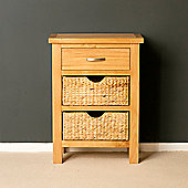 London Oak Telephone Table with Baskets - Lacquer Finish