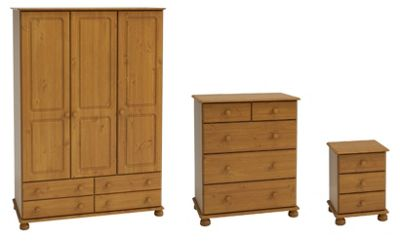 Richmond Bedroom Set (Triple Wardrobe with 4 Drawers, Chest of Drawers & Bedside Table), Pine