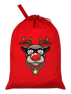 Bling Rudolph Red Santa Sack 46x60cm
