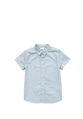 F&F Button Down Collar Geo Print Short Sleeve Shirt White 12-18 months