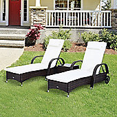 Outsunny 3PC Recliner Rattan Sun Lounger & Side Table in Mixed Brown