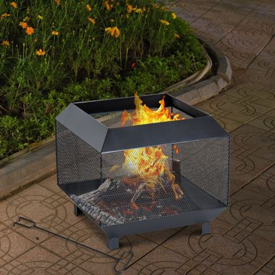 Outsunny Steel Firepit Heater Garden Square Wood Burner Patio Black
