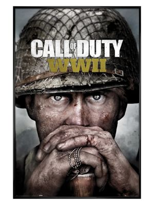 Call Of Duty Gloss Black Framed Stronghold WWII Key Art Poster 61 x 91.5cm