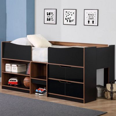 Happy Beds Paddington Wood Kids Storage Midsleeper Cabin Storage Bed with Open Coil Spring Mattress - Black and Walnut - 3ft Single